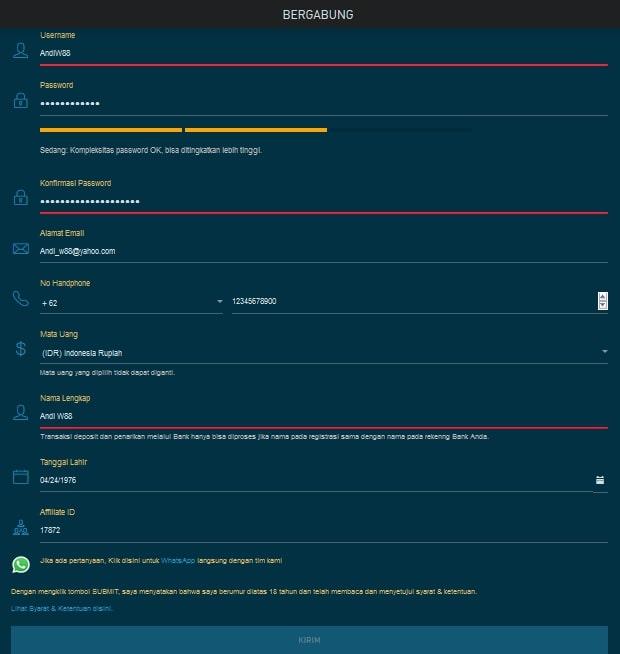 Daftar W88 Dengan Aplikasi Mobile