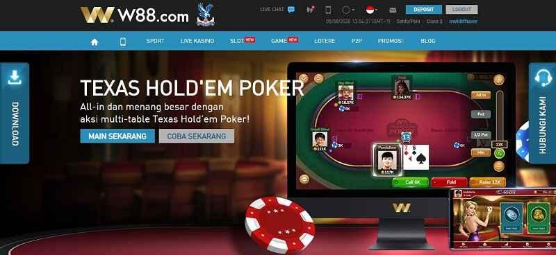Keseruan Main Poker W88 dengan Download Apk