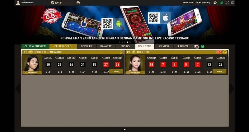 Roulette Live Online Games di W88