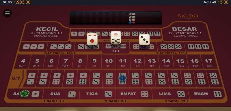 Dua Jenis Permainan Game Sicbo W88